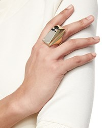 Two Tone Pearly Stud Ring St. John Collection Light Gold