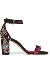 Brian Atwood Margo Beaded Suede Sandals Black