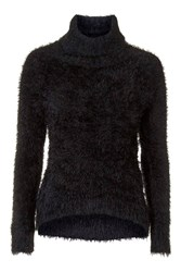 Country Black Fluffy Polo Neck Jumper By Goldie