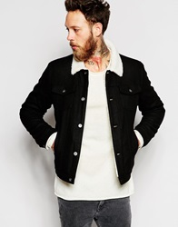 Asos Wool Bomber Jacket With Faux Shearling Collar Black