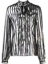 By. Bonnie Young Striped Pussy Bow Neck Blouse Black