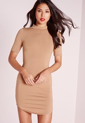 Missguided Short Sleeve Curve Hem Bodycon Dress Camel Brown