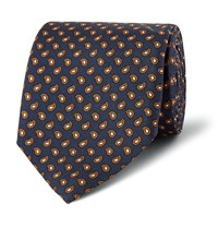 Dunhill Paisley Print Mulberry Silk Tie Navy