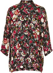 Soaked In Luxury 3 4 Sleeved Floral Shirt Multi Coloured Multi Coloured
