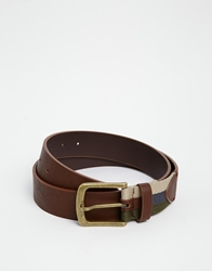 Asos Jeans Belt With Fabric Contrast Brown