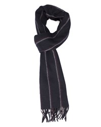 Gant Navy Wool Scarf With Burgundy And Grey Stripes