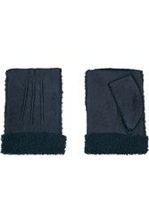 Agnelle Nubuck Fingerless Gloves Blue