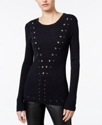 Bar Iii Grommet Detail Sweater Only At Macy's Ink Spill