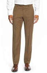 Men's Big And Tall Ballin Flat Front Solid Wool Trousers Saddle