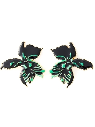 Laura Biagiotti Vintage Flower Earrings Green