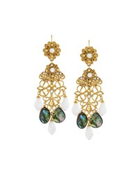 Jose And Maria Barrera Golden Abalone And Crystal Drop Earrings Women's