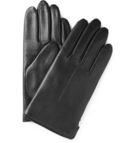 Wool Lined Leather Gloves Black