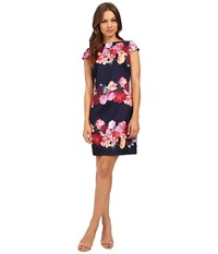 Vince Camuto Printed Scuba Cap Sleeve Shift Navy Women's Dress