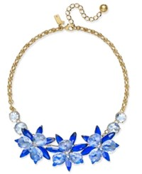 Kate Spade New York Gold Tone Blue Crystal Flower Collar Necklace Blue Multi