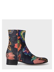 Paul Smith Women's Botanical Print Leather 'Bardo' Chelsea Boots Black