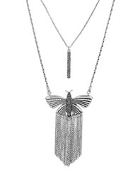 Lucky Brand Turquoise Natives Rock Crystal Pave Butterfly Pendant Necklace Silver