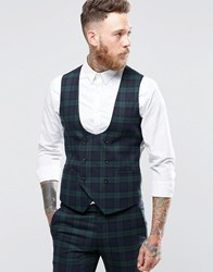 Noose And Monkey Super Skinny Db Waistcoat In Tartan With Stretch Green