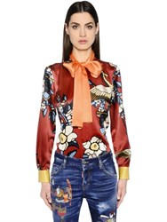 Dsquared Cherry Blossom Print Silk Satin Shirt