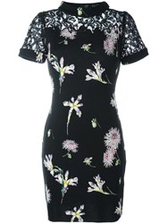 Blumarine Floral Print Lace Dress Black