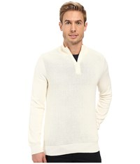 Perry Ellis Color Block 1 4 Zip Sweater Cream Men's Sweater Beige