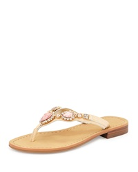Ivanka Trump Palla Jeweled Leather Thong Sandal Light Pink