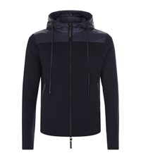 Emporio Armani Full Zip Knitted Hoodie Male Navy