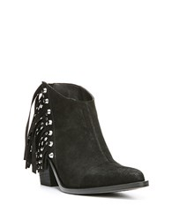 Fergie Bennie Fringed Leather Ankle Boots Black