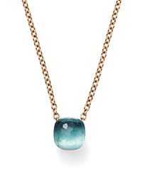 Pomellato Nudo Pendant Necklace With Blue Topaz In 18K Rose And White Gold Blue Rose