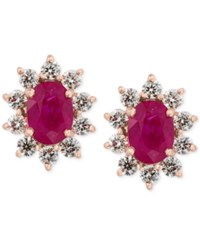 Effy Amore By Certified Ruby 1 9 10 Ct. T.W. And Diamond 3 4 Ct. T.W. Earrings In 14K Rose Gold