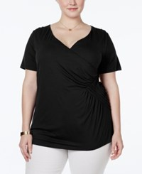 Inc International Concepts Plus Size Faux Wrap Top Only At Macy's Deep Black