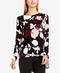 Vince Camuto High Low Floral Print Blouse Rosy Flush