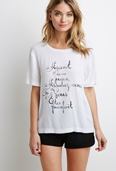 Forever 21 French Graphic Tee White Black