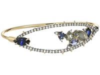 Alexis Bittar Crystal Encrusted Spike Accented Gemstone Cluster Tension Bangle Bracelet 10K Gold Ruthenium