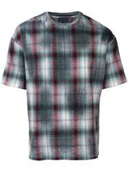 Lanvin Checked Pattern T Shirt Grey