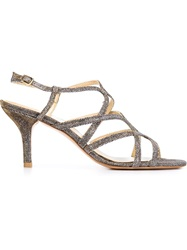 Stuart Weitzman Strappy Kitten Heel Sandals Metallic