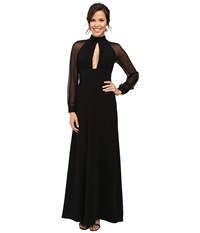 Jill Stuart Crepe Chiffon Gown With Long Sleeves And Keyhole Black Women's Dress