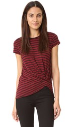 Stateside Striped Twist Front Tee Ruby Stripe