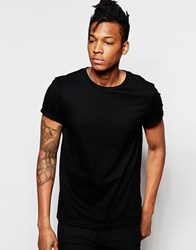 Asos T Shirt With Crew Neck And Roll Sleeve In Black Black