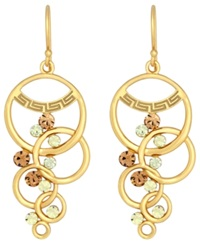 Sis By Simone I Smith 18K Gold Over Sterling Silver Multi Circle And Crystal Dangle Earrings
