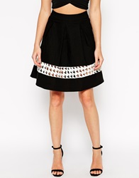 Rare Full Midi Skirt With Dogtooth Insert Blackwhite