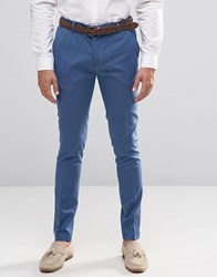 Asos Super Skinny Smart Trousers In Pale Blue Pale Blue