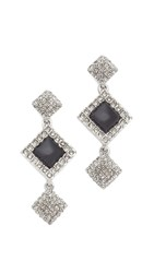 Oscar De La Renta Resin Pave Earrings Black Diamond