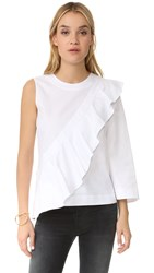 Bcbgmaxazria Leilone One Shoulder Ruffle Blouse White