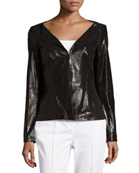 Lafayette 148 New York Liv Patent Leather Jacket Black