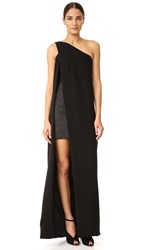 Monique Lhuillier One Shoulder Gown With Mini Dress Noir Noir