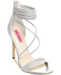 Betsey Johnson Kora Strappy Evening Sandals Women's Shoes Silver Sparkle