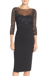 Women's David Meister Embellished Illusion Mesh And Jersey Sheath Dress