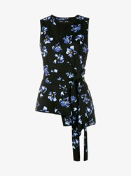 Proenza Schouler Sleeveless Top With Floral Print Black Multi Coloured