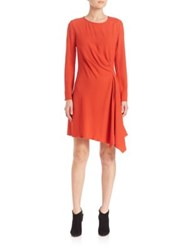 Josie Natori Crepe Side Drape Dress Orange