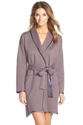 Midnight By Carole Hochman Geometric Quilted Robe Brown
